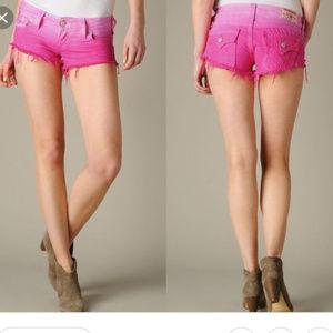 True Religion Jean Cutoff Shorts Pink Ombré